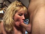 Blonde Milf Slobbers Dick